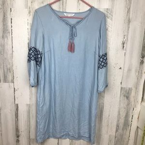 DownEast Blue Embroidered Swim Cover Dress Pockets